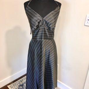 Flirty Black/White Satin Midi Halter Dress PLUS!